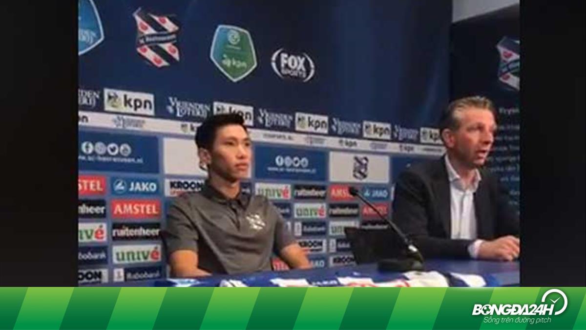 VIDEO: Văn Hậu nói gì trong lễ ra mắt CLB Heerenveen tại Hà Lan