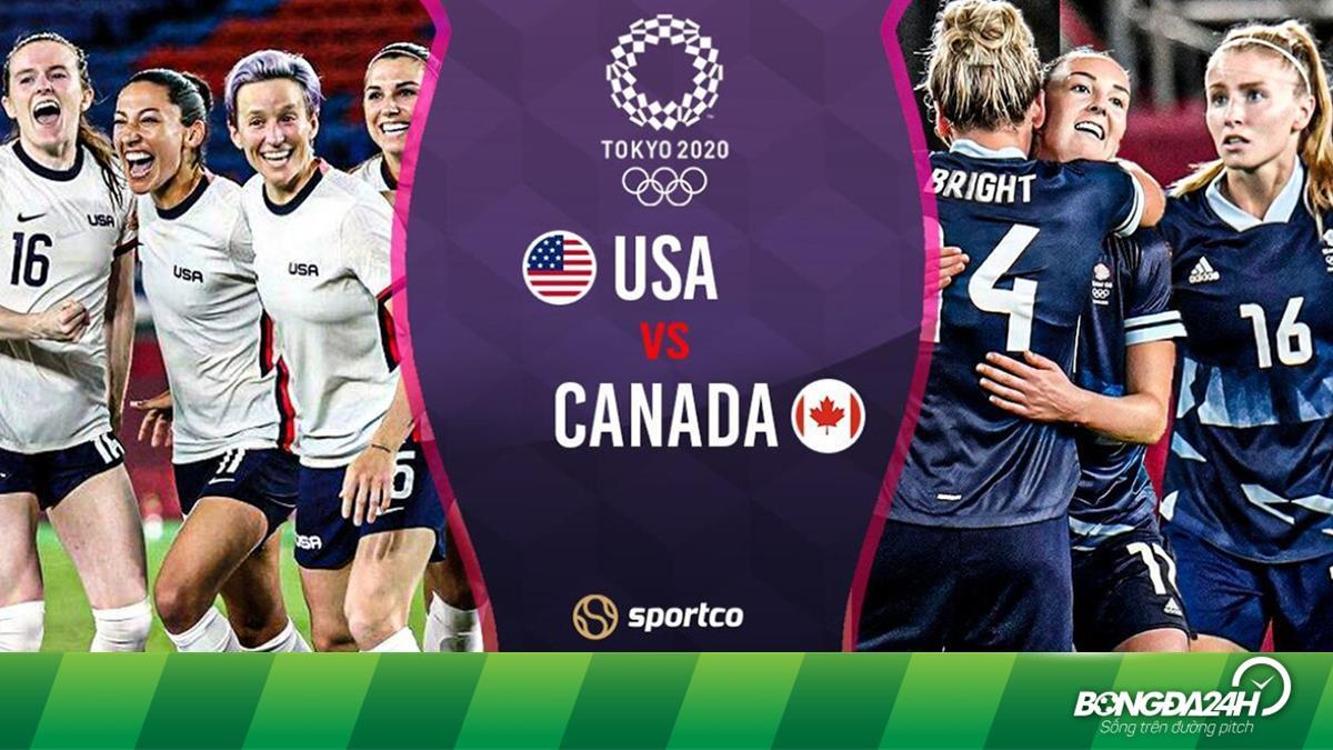 Trực tiếp bóng đá Nữ: Mỹ vs Canada bán kết Olympic Tokyo 2020 hôm nay