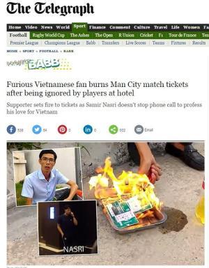 Hàng loạt tờ báo Anh đưa tin vụ CĐV Việt Nam đốt vé