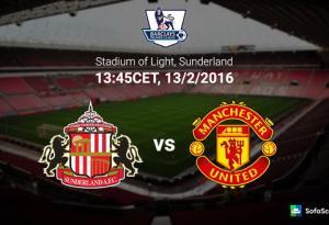 TRỰC TIẾP Sunderland vs M.U vòng 26 Ngoại hạng Anh 2015/2016 19h45 ngày 13/2
