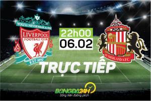 TRỰC TIẾP Liverpool vs Sunderland trận đấu vòng 25 NHA 2015/2016 22h00 ngày 6/2