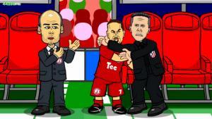 Hoạt hình vui mô phỏng lại trận Bayern 2-1 Atletico