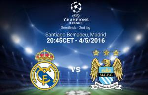 TRỰC TIẾP Real Madrid vs Man City lượt về bán kết Champions League 2015/2016 01h45 ngày 5/5
