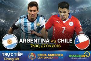 TRỰC TIẾP Argentina vs Chile chung kết Copa America 2016 07h00 ngày 27/6