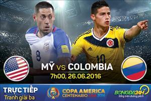 TRỰC TIẾP Mỹ vs Colombia tranh hạng 3 Copa America 2016 07h00 ngày 26/6