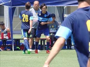 Tiền vệ Tuấn Anh ra sân ở trận đấu giao hữu của Yokohama FC