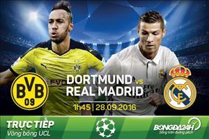 TRỰC TIẾP Dortmund vs Real Madrid 1h45 ngày 28/9 (Champions League 2016/17)