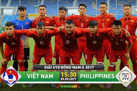 Xem truc tiep U18 Viet Nam vs U18 Philippines 15h30 chieu nay 99 o dau hinh anh goc