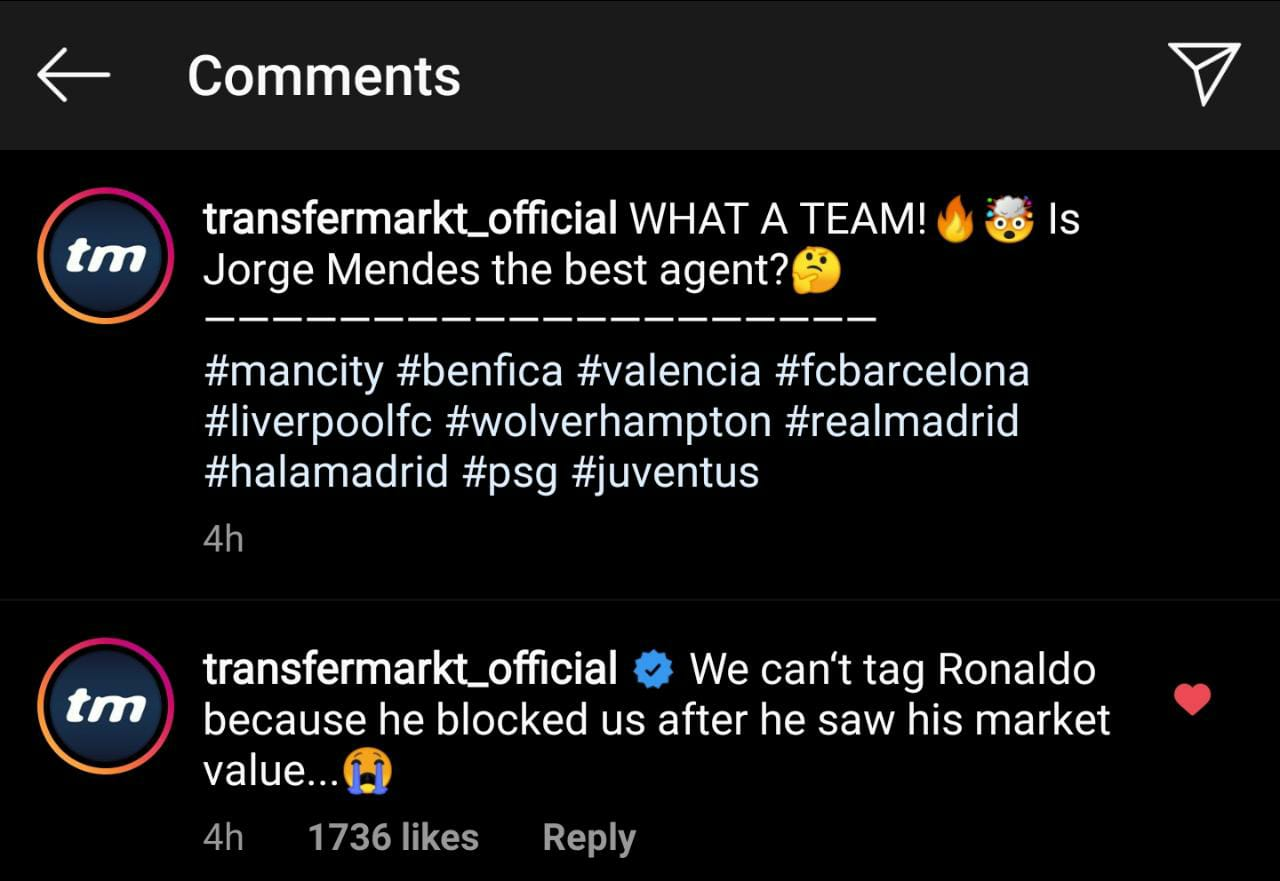Cristiano Ronaldo cay cú block Transfermarkt vì định giá quá thấp hình ảnh
