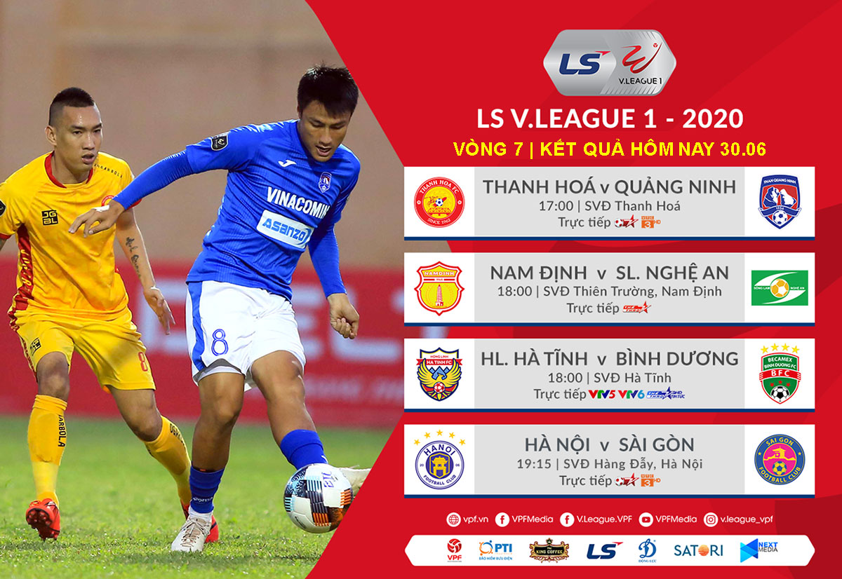 Ket qua bong da V-League hom nay 30/6,bang xep hang moi nhat