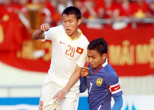U23 Viet Nam tung that bai 0-1 truoc U23 Malaysia (phai) o chung ket SEA Games 2009
