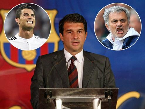Tranh cu chuc chu tich Barcelona bang chieu bai Ronaldo va Mourinho hinh anh
