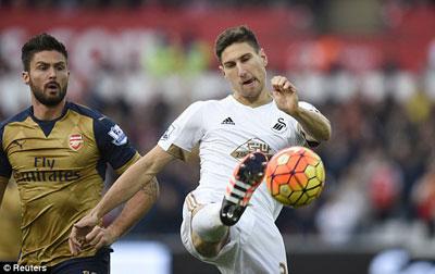 Video clip ban thang Swansea 0-3 Arsenal (Vong 11 Premier League 201516) hinh anh
