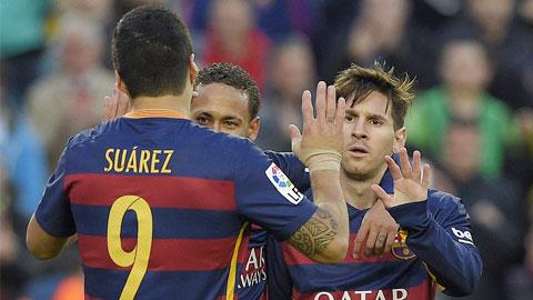 Messi, Suarez va Neymar deu lap cong