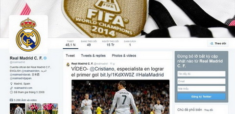 Ky luc moi cua Real Madrid tren Twitter  hinh anh