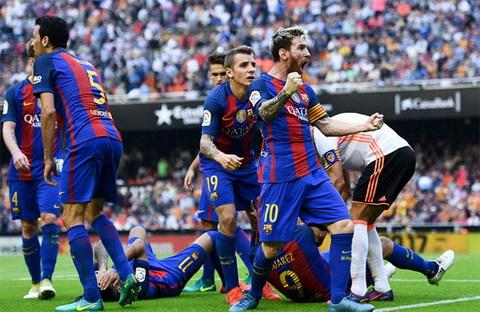 Messi cuong nhiet chia vui sau ban thang quyet dinh. Anh: Reuters