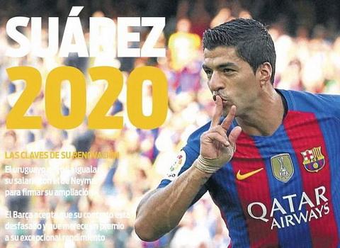 Luis Suarez nhan them luong khung 100.000 bang moi tuan neu gia han hop dong voi Barcelona.