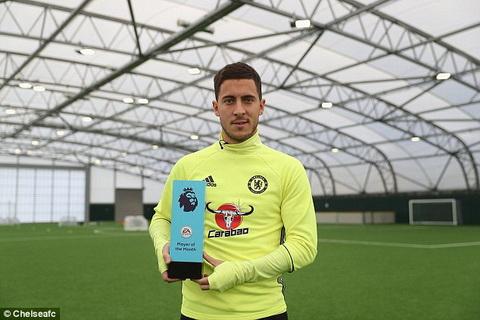 Eden Hazard nhan danh hieu Cau thu hay nhat Premier League thang 102016 hinh anh