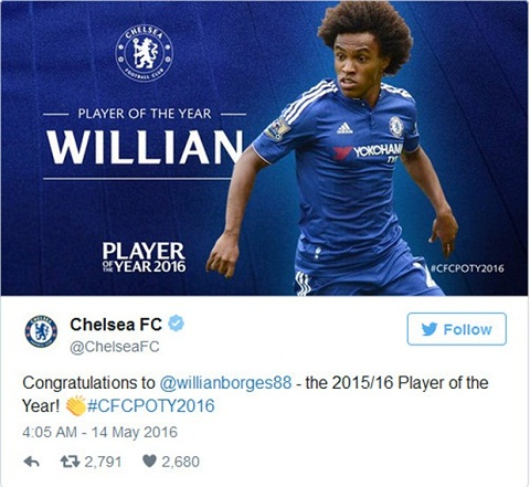 Tien ve Willian thau tom nhung danh hieu ca nhan cua Chelsea hinh anh