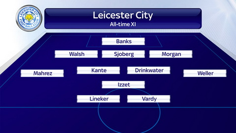 Doi hinh xuat sac nhat lich su Leicester voi so do 3-4-1-2.