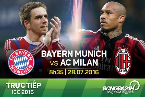 TRUC TIEP Bayern Munich vs AC Milan ICC 2016 08h35 ngay 28/7