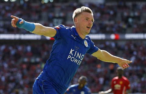 M.U vs Leicester Vardy ghi ban