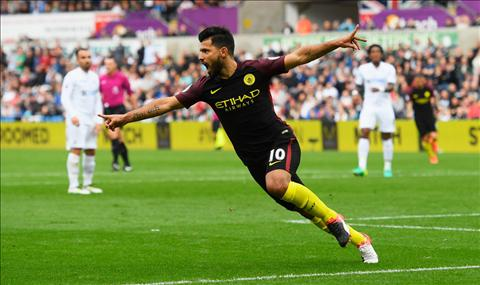 Man City vs Swansea Aguero ghi ban