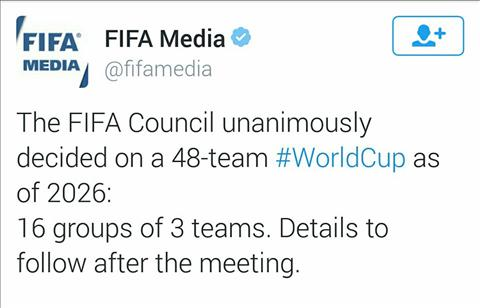 FIFA chinh thuc chot phuong an 48 doi du World Cup
