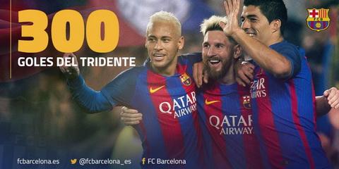 Bo ba MSN da cung nhau ghi 300 ban cho Barcelona.