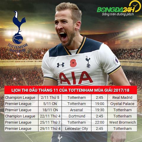 Lich thi dau thang 11 mua giai 201718 cua Tottenham hinh anh 2