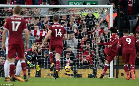 Mohamed Salah sut hong phat den trong tran thang Huddersfield.