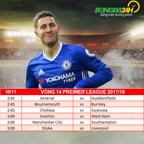 Lich thi dau vong 14 Premier League 201718 ngay hom nay 2911 hinh anh 2