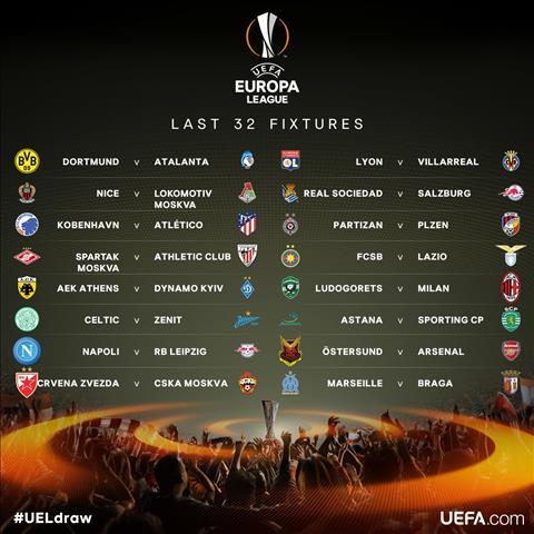 Ket qua boc tham vong 1/16 UEFA Europa League 2017/18