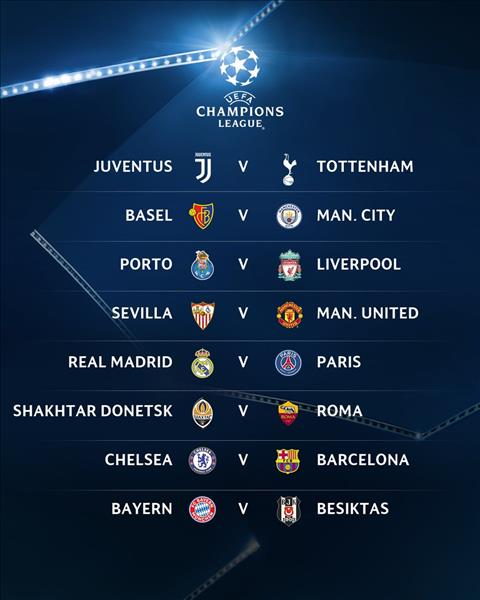 Ket qua boc tham vong 1/8 UEFA Champions League 2017/18