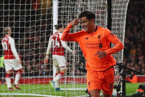Philippe Coutinho mo ty so tran hoa kich tinh Arsenal 3-3 Liverpool