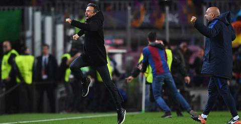 Niem vui cua HLV Enrique, nguoi vua thong bao se chinh thuc chia tay Barca vao cuoi mua giai nay.