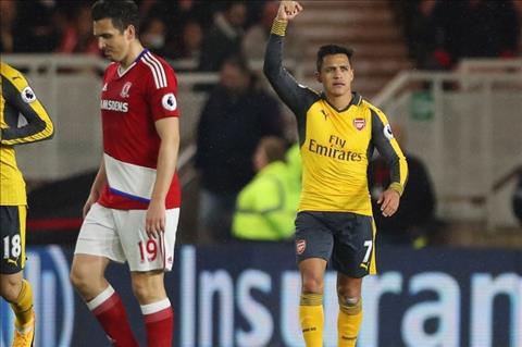 Sanchez lap cong cho Arsenal truoc Boro