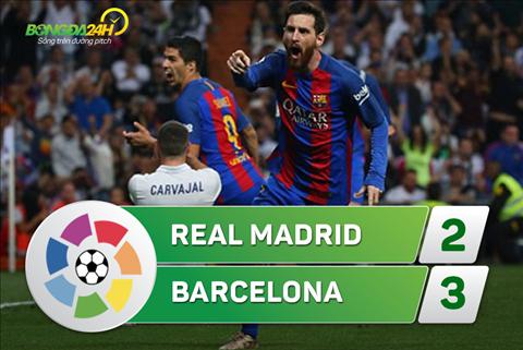 Tong hop: Real Madrid 2-3 Barca (Vong 33 La Liga 2016/17)