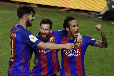 Lionel Messi va Neymar cung lap ky luc trong chien thang cua Barcelona.