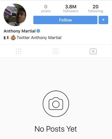 Tai khoan Insta cua Anthony Martial trong tron
