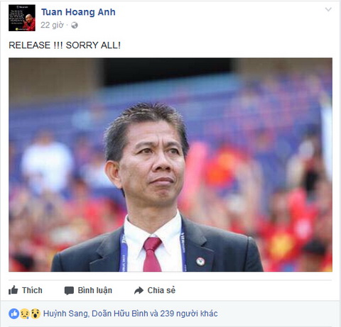 HLV Hoang Anh Tuan chia se du dinh chia tay tren trang ca nhan.