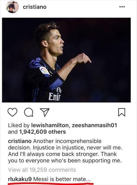 Vi hacker, Romelu Lukaku phai len tieng xin loi Ronaldo hinh anh