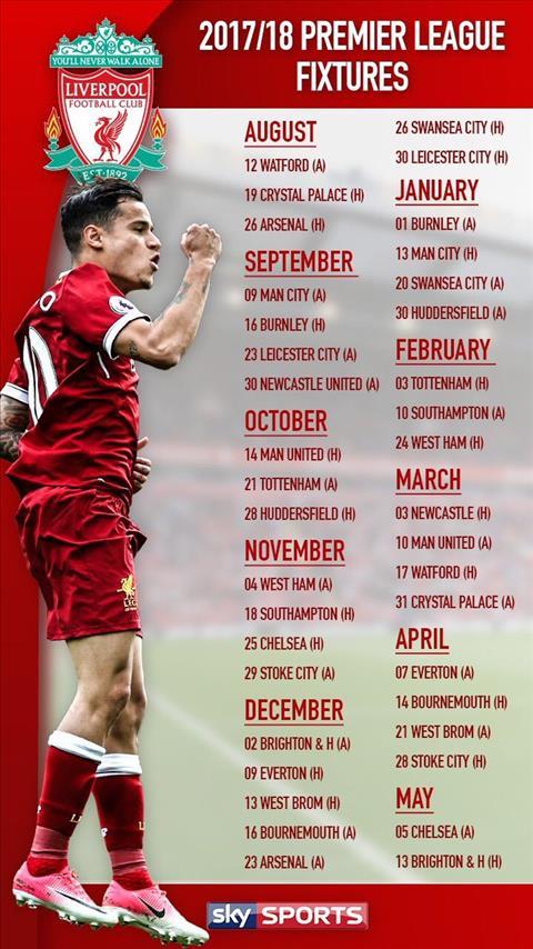 Liverpool Fixture 17/18