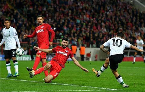 Coutinho ghi ban cho Liverpool truoc Spartak