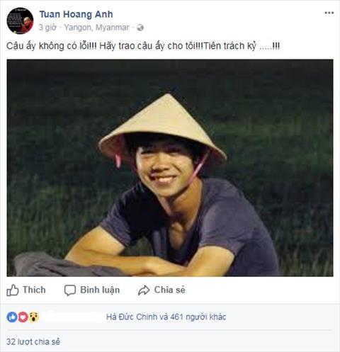 Hinh anh dang tai tren Facebook cua HLV Hoang Anh Tuan