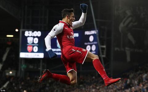 Alexis Sanchez in dau giay o 3 trong 4 ban thang gan nhat cua Arsenal.