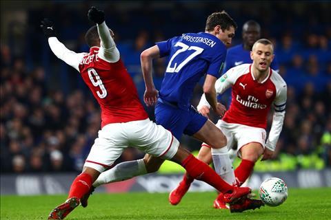 Chelsea v Arsenal Christensen va Lacazette tranh bong