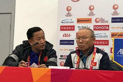 Park Hang Seo trong buoi hop bao truoc tran gap U23 Uzbekistan