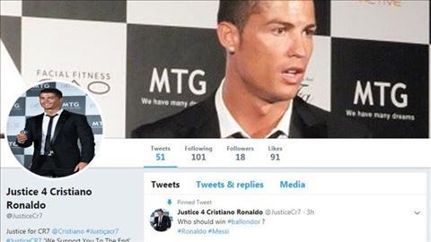 Gia dinh doi cong ly cho Cristiano Ronaldo tren mang xa hoi.