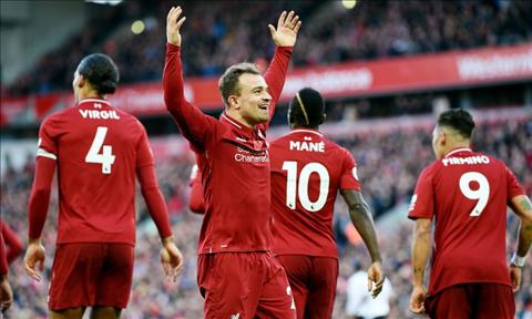 Shaqiri cung voi Mane, Salah va Firmino hop thanh bo tu khung khiep cua Liverpool